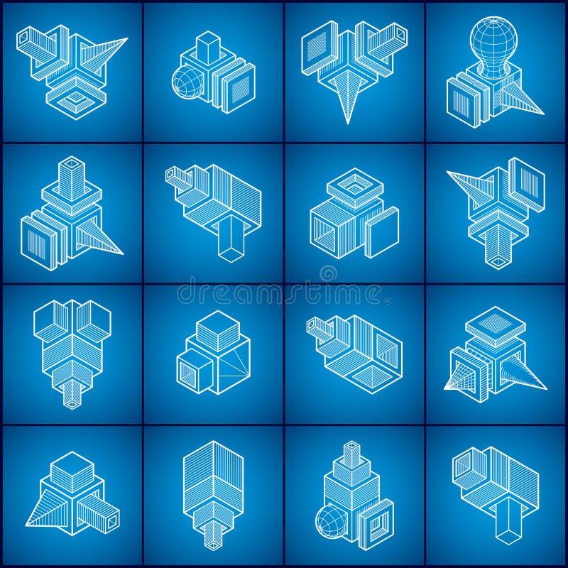 Inżynieria abstrakcjonistyczny kształt, wektory ustawiający ilustracja wektor