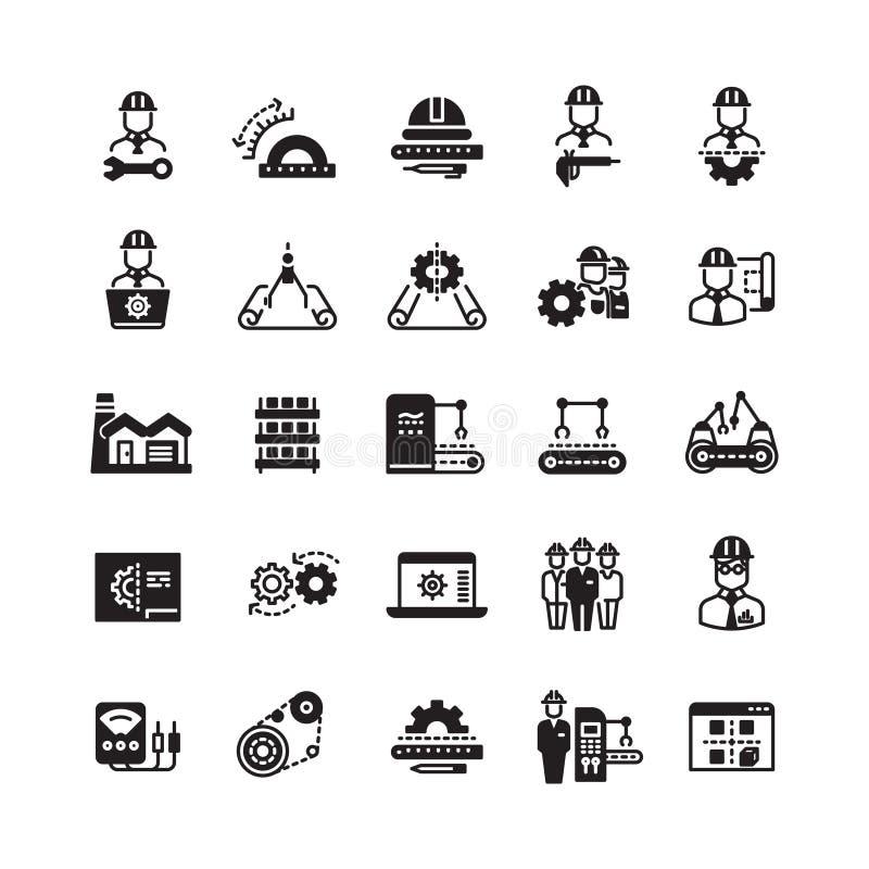 Inżynieria fabrykuje przemysłowego wektorowego ikona set royalty ilustracja