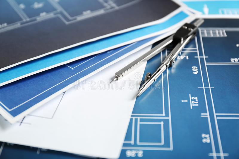 Inżynieria projekty z kompasem obrazy stock