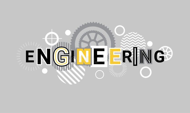 Inżynieria przemysłu technologii sieci sztandaru szablonu Abstrakcjonistyczny tło Z przekładniami ilustracja wektor