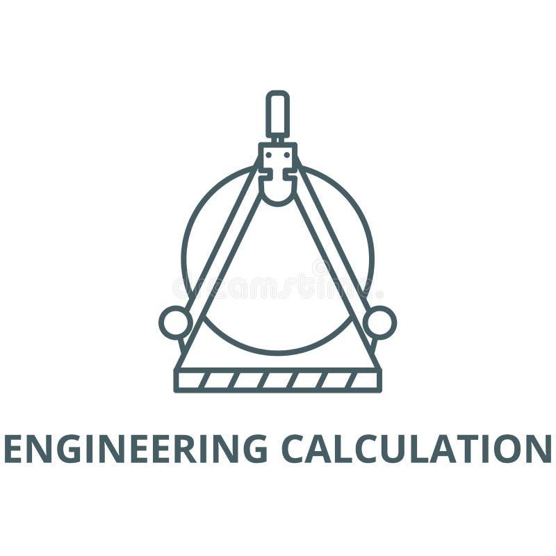 Inżynieria wektoru linii kalkulacyjna ikona, liniowy pojęcie, konturu znak, symbol ilustracja wektor