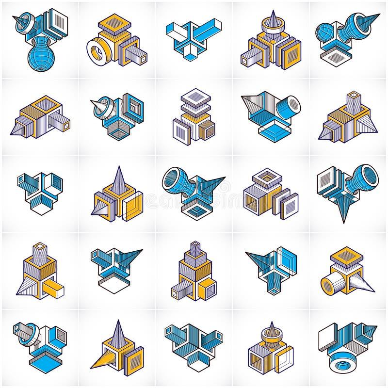 Inżynierii budowy kolekcje, abstrakcjonistyczni wektory ilustracja wektor
