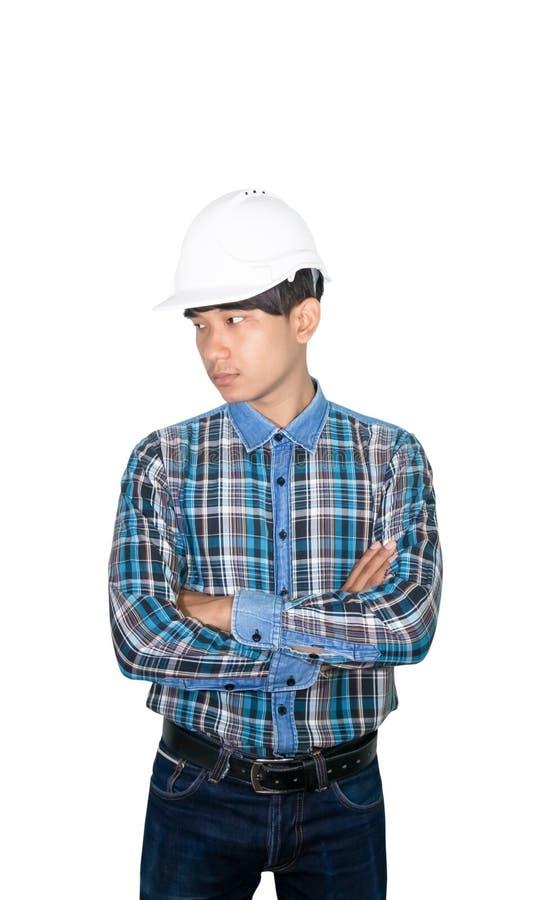 Inżynierii budowy ręki krzyż na klatki piersiowej i odzieży zbawczego hełma białym klingerycie odizolowywającym na białym tle obraz royalty free