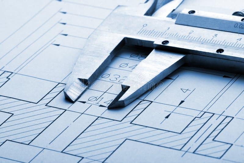 Inżynierii caliper rysunek i obrazy stock