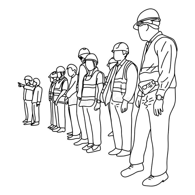 Inżyniery z ciężkim kapeluszem w budowy nakreślenia ilustracyjnym doodle wręczają patroszonego z czarnymi liniami odizolowywać na ilustracja wektor