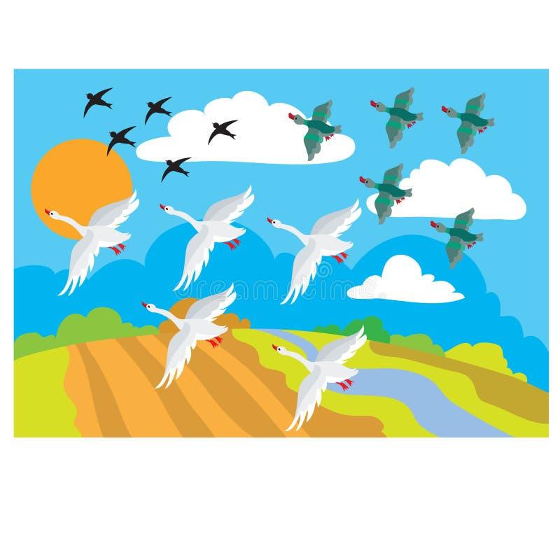 Free In Autumn, Birds Fly To Warm Lands, Schools, Cartoon Illustration, Vector Stock Photo - 195151700