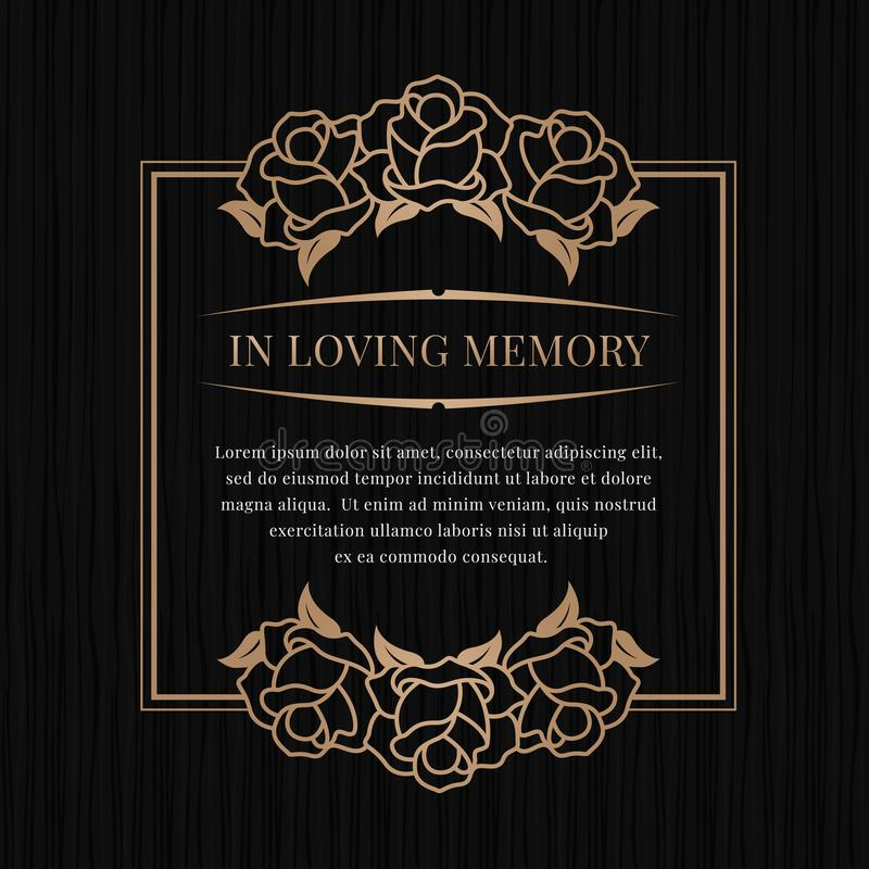 Free In Loving Memory Banner With Brown Bronze Rose Frame On Black Texture Background Vector Design Stock Photography - 138186342