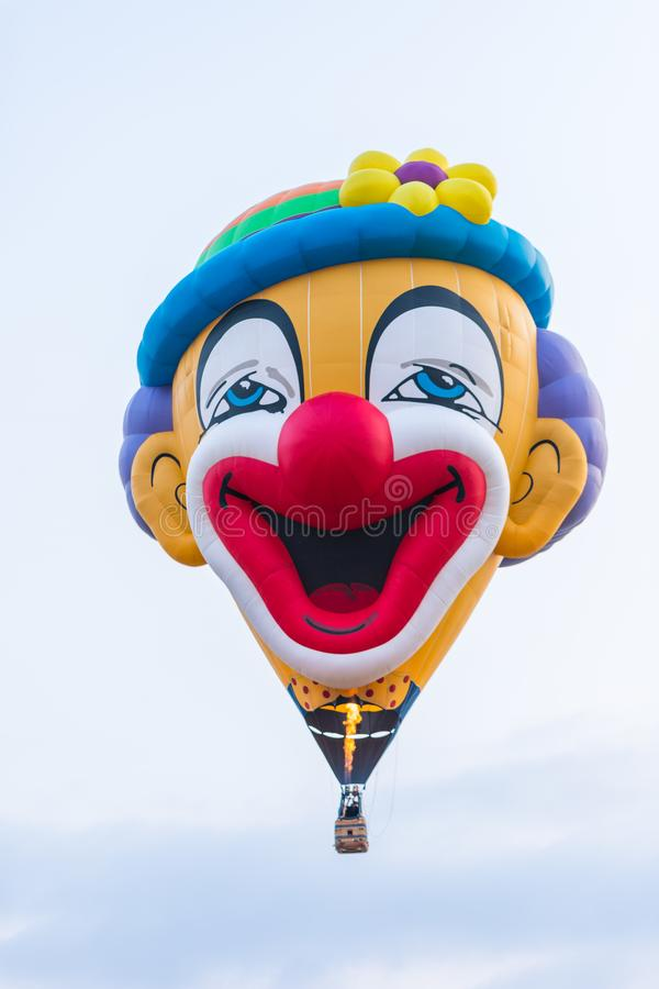 Free In The Sky Hot Air Balloon In The Shape Of A Clown`s Head At The Hot Air Balloon Festival Stock Photography - 123437082