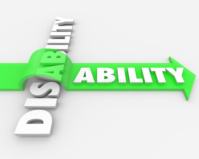 Inabilidade contra a capacidade que supera a desvantagem física ilustração stock