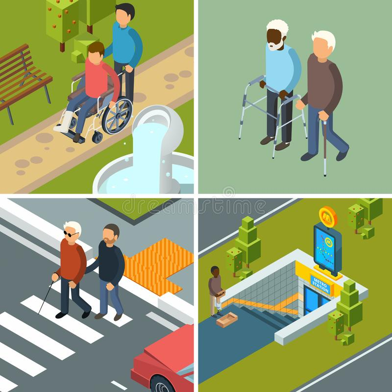 Inabilidade na cidade Muletas urbanas equipamento dos caminhantes das cadeiras de rodas dos invalids dos cuidados médicos e conce ilustração do vetor