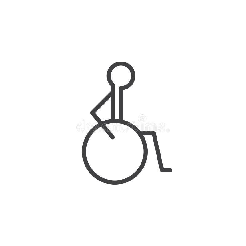Inabilità, linea icona, segno di vettore del profilo, pittogramma lineare di handicap di stile isolato su bianco royalty illustrazione gratis