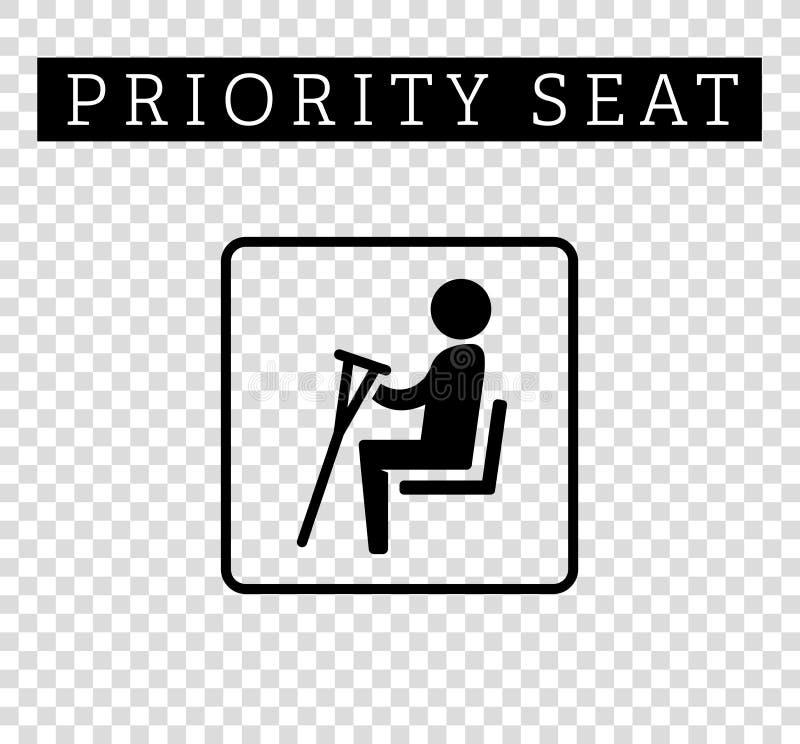 Inabilità o storpio con il segno delle grucce Disposizione dei posti a sedere per i clienti, icona speciale di priorità del posto illustrazione vettoriale