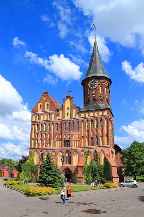 Inactieve die Konigsberg-Kathedraal in stijl van de Baltische gotische stijl wordt geconstrueerd stock afbeelding