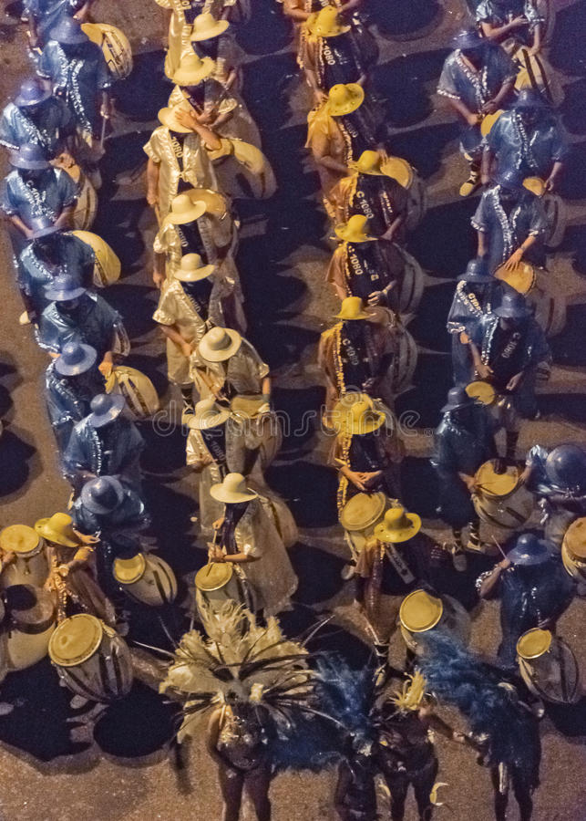 Inagural Parade of Carnival in Montevideo Uruguay. MONTEVIDEO, URUGUAY, JANUARY - 2016 - Aerial view of a carnival group at inagural parade of carnival in stock photos
