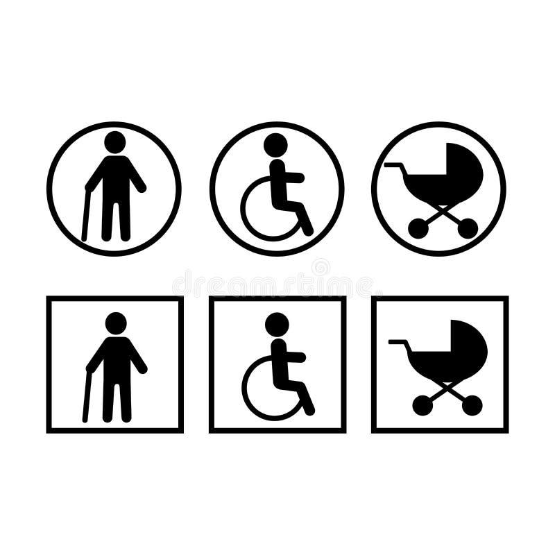 Inaktiverade, behandla som ett barn sittvagnen, kryckor inst?llda symboler Klistermärkear rundar och kvadrerar royaltyfri illustrationer
