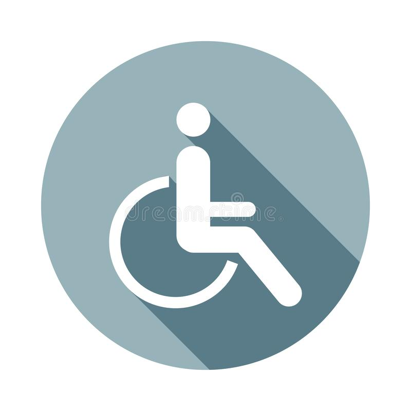 Inaktiverade handikappsymbolen i plan lång skuggastil En av rengöringsduksamlingssymbolen kan användas för UI, UX vektor illustrationer