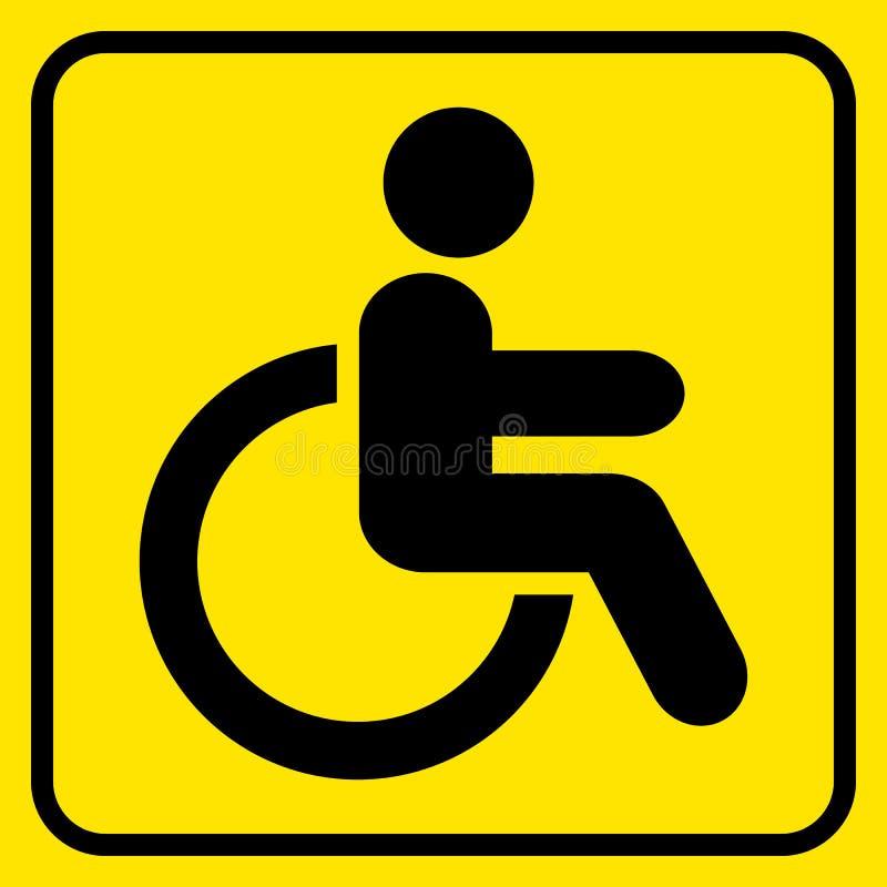 inaktiverat mer mitt portföljtecken undertecknar varning mann rullstol Svart på guling vektor royaltyfri illustrationer