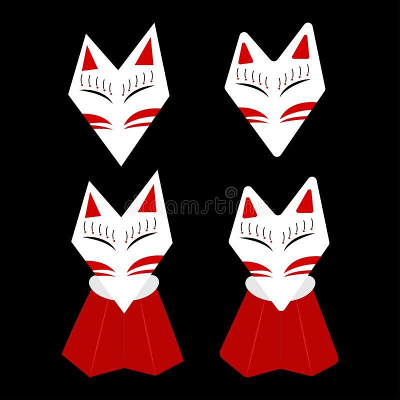 Inari rävKitsune vit framsida med den röda fläcken stock illustrationer