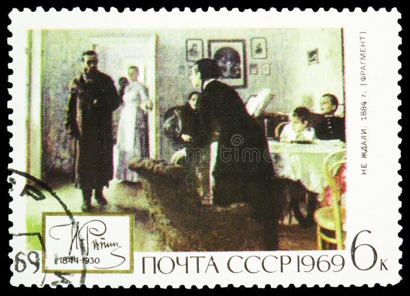 Inattendu, 1884, 125th anniversaire de naissance du serie 1844-1930 d'Ilya Yefimovich Repin, vers 1969 photographie stock