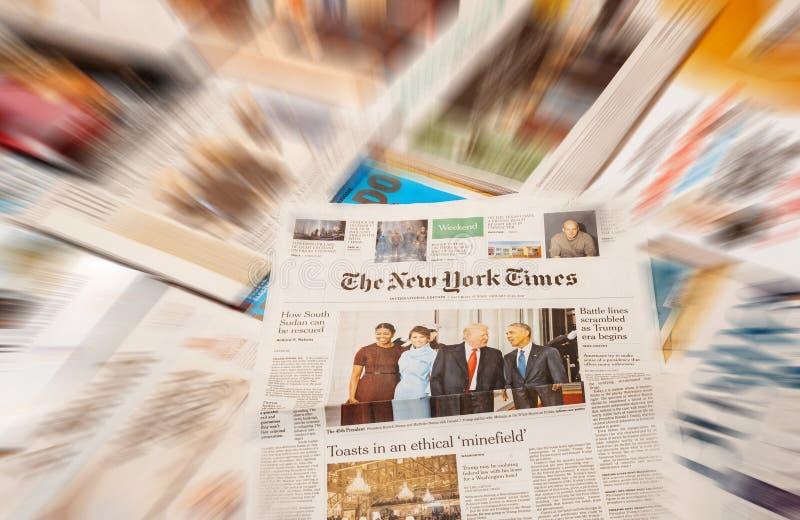 Inauguração de Donald Trump pelo New York Times foto de stock royalty free
