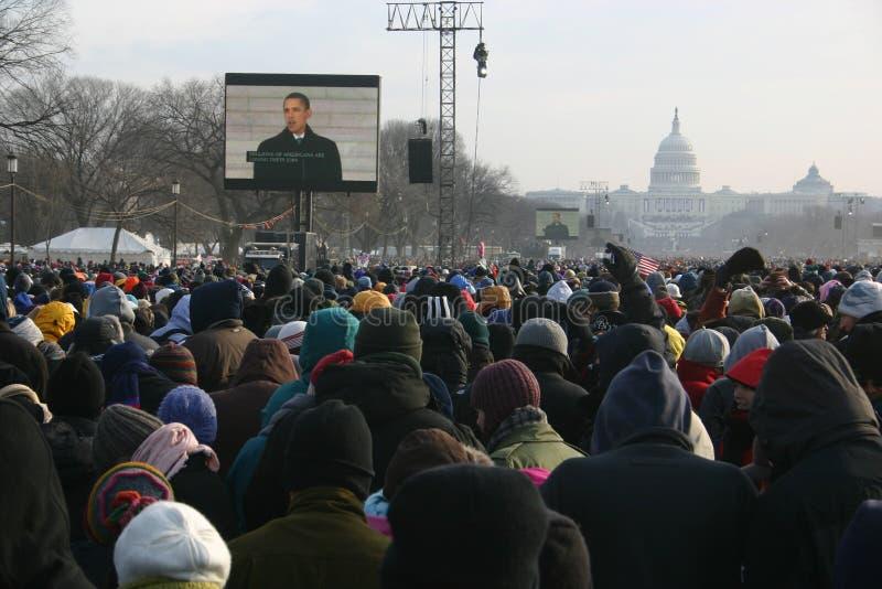 Inauguración 2009: Dentro de la muchedumbre en la alameda fotografía de archivo libre de regalías