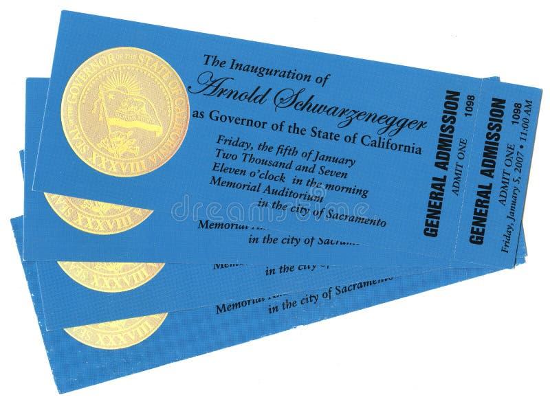 Inauguracyjni bilety zdjęcie royalty free