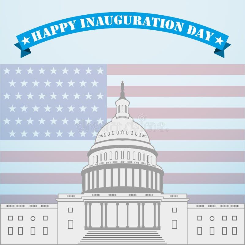Inauguracyjny dzień Capitol na tle flaga amerykańska ilustracja wektor