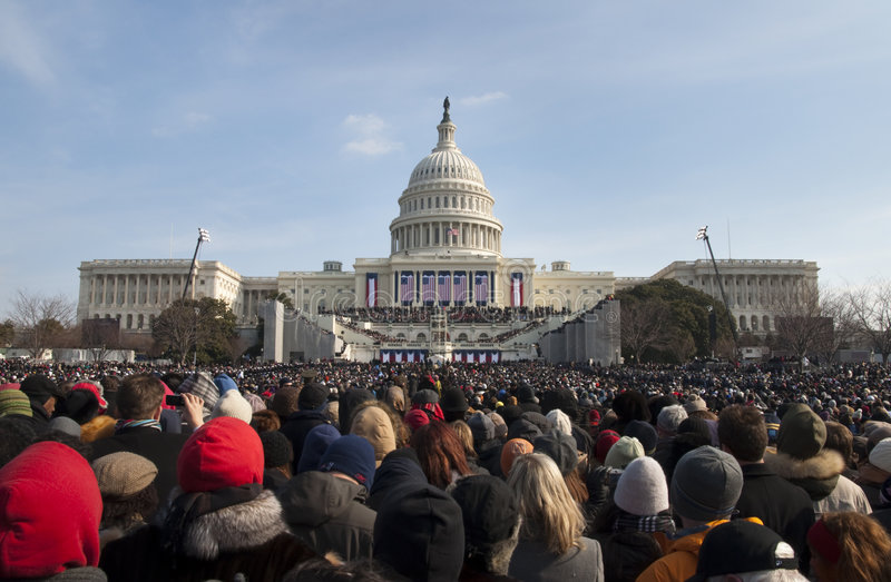 Download Inauguration At U.S. Capitol Editorial Stock Image - Image of flag, panorama: 7852639