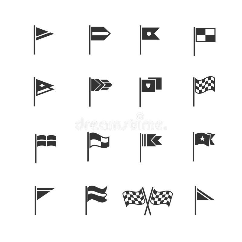 Inbandiera i pittogrammi Icone della bandiera di inizio e di rivestimento di vettore royalty illustrazione gratis