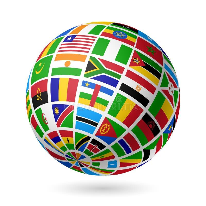 Inbandiera il globo. L'Africa. illustrazione di stock