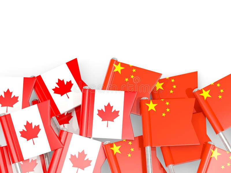 Inbandieri i perni del Canada e della Cina su bianco illustrazione di stock