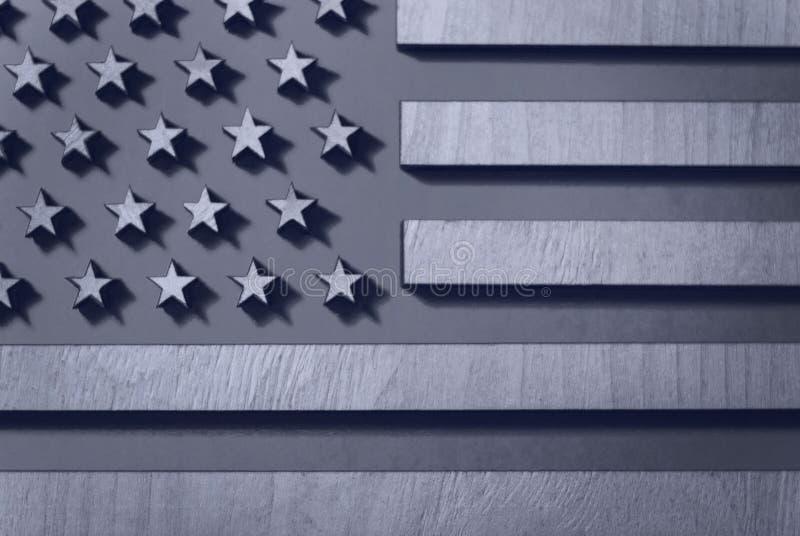 Inbandieri il primo piano degli Stati Uniti di legno, in bianco e nero, nei toni grigi fotografie stock