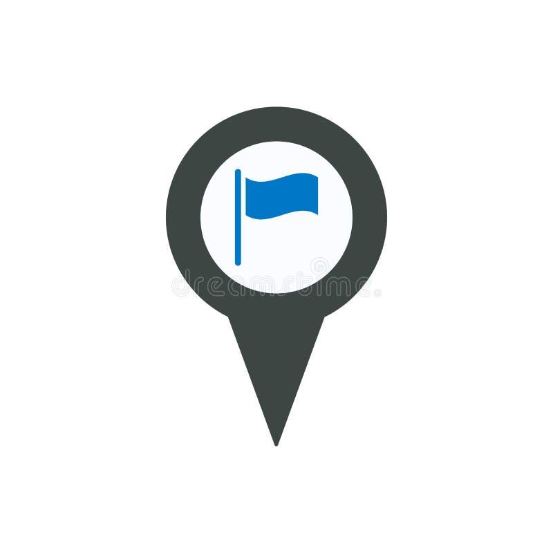 Inbandieri l'icona di posizione di punto del posto del perno dell'indicatore di posizione illustrazione vettoriale
