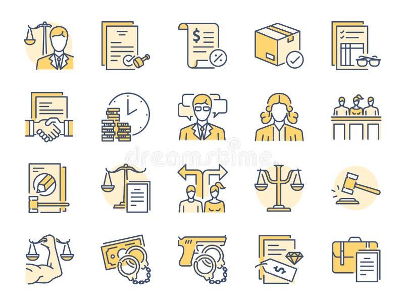 Inbegrepen pictogrammen als wet, advocaat, rechter, hof, bepleiten en meer stock illustratie
