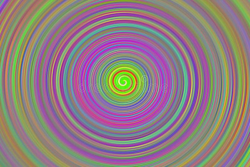 Inbillad spiral för bakgrundsgrundcirkel som är flerfärgad med ljus skinande färgrotation stock illustrationer