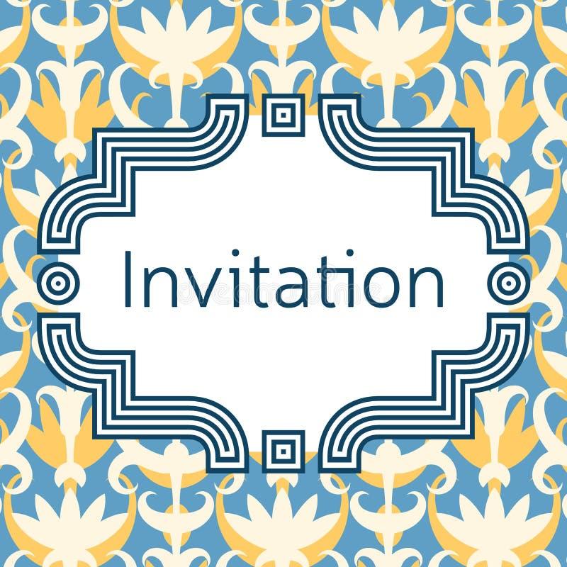 Inbjudan-, bröllop- eller hälsningkortmall Elegantt inrama vektor illustrationer