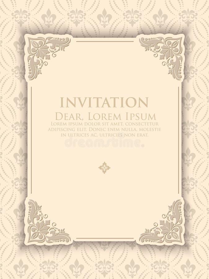 Inbjudan- eller bröllopkort med blom- bakgrund och eleganta blom- beståndsdelar royaltyfri illustrationer