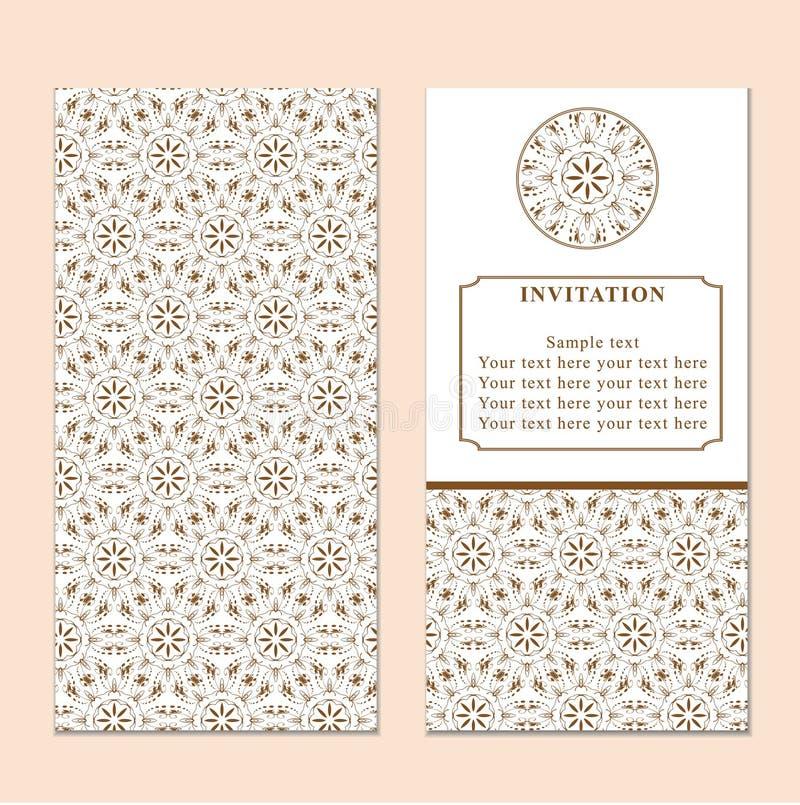 Inbjudan- eller bröllopkort med damast bakgrund och elegant fl vektor illustrationer