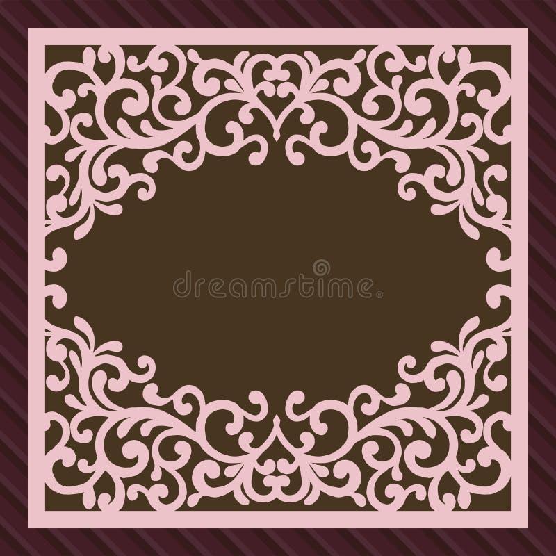 Inbjudan- eller hälsningkort med blommaprydnaden Klipp mallen för laser-fyrkantkuvertet Bröllopinbjudankuvert för stock illustrationer
