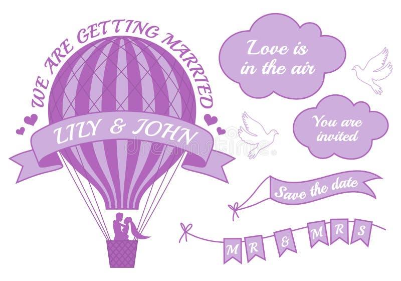 Inbjudan för bröllop för ballong för varm luft, vektor stock illustrationer