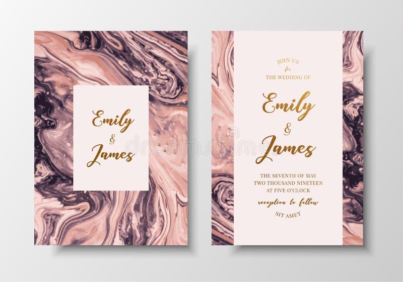 Inbjudan för bröllop för modern design för vektor Flytande färgar hälsningkort med guld- text Spara datumdesignmallen royaltyfri illustrationer