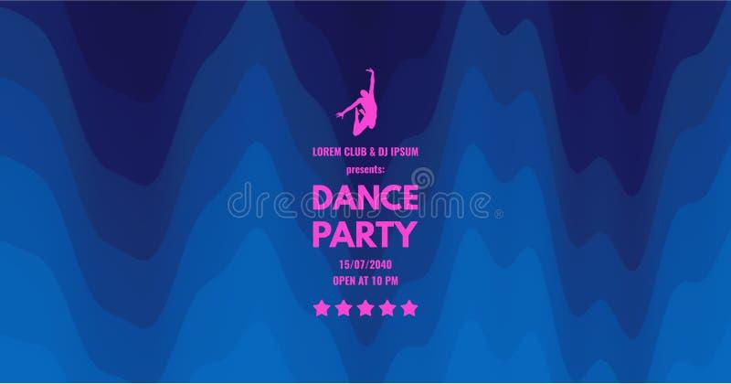 Inbjudan för dansparti med datum- och tidsdetaljer Blå gardin för teater Musikh?ndelsereklamblad eller baner krabb bakgrund 3D me vektor illustrationer