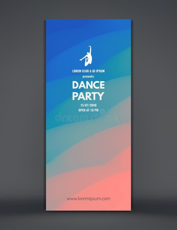 Inbjudan för dansparti med datum- och tidsdetaljer Musikhändelsereklamblad, baner eller ställning krabb bakgrund 3D med dynamisk  royaltyfri illustrationer