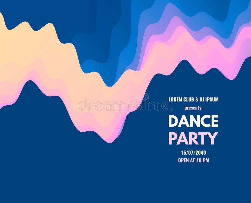 Inbjudan för dansparti med datum- och tidsdetaljer Musikh?ndelsereklamblad eller baner krabb bakgrund 3D med dynamisk effekt vekt stock illustrationer