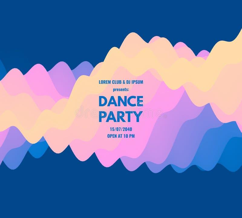 Inbjudan för dansparti med datum- och tidsdetaljer Musikh?ndelsereklamblad eller baner krabb bakgrund 3D med dynamisk effekt vekt royaltyfri illustrationer