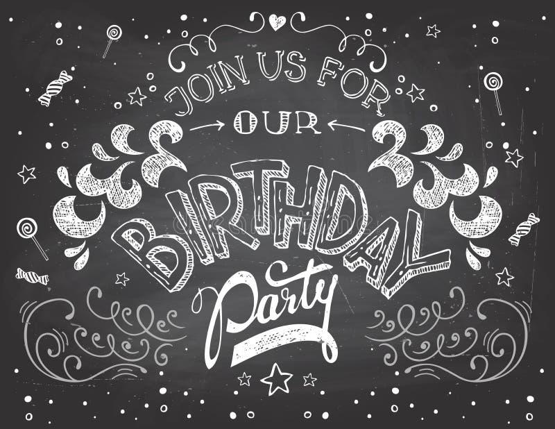 Inbjudan för födelsedagparti på den svart tavlan stock illustrationer
