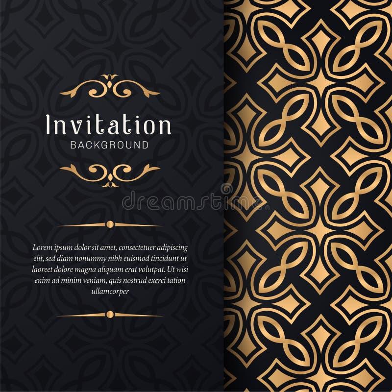 Inbjudan för hälsningkortet med snör åt och blom- prydnader, guld- dekorativ modellbakgrundsillustration, royaltyfri illustrationer
