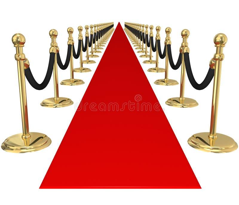 Inbjudan för händelse för parti för storgubbe för guld- stolpar för röd matta exklusiv vektor illustrationer