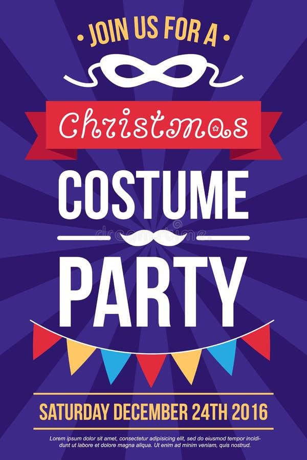 Inbjudan för juldräktparti royaltyfri illustrationer