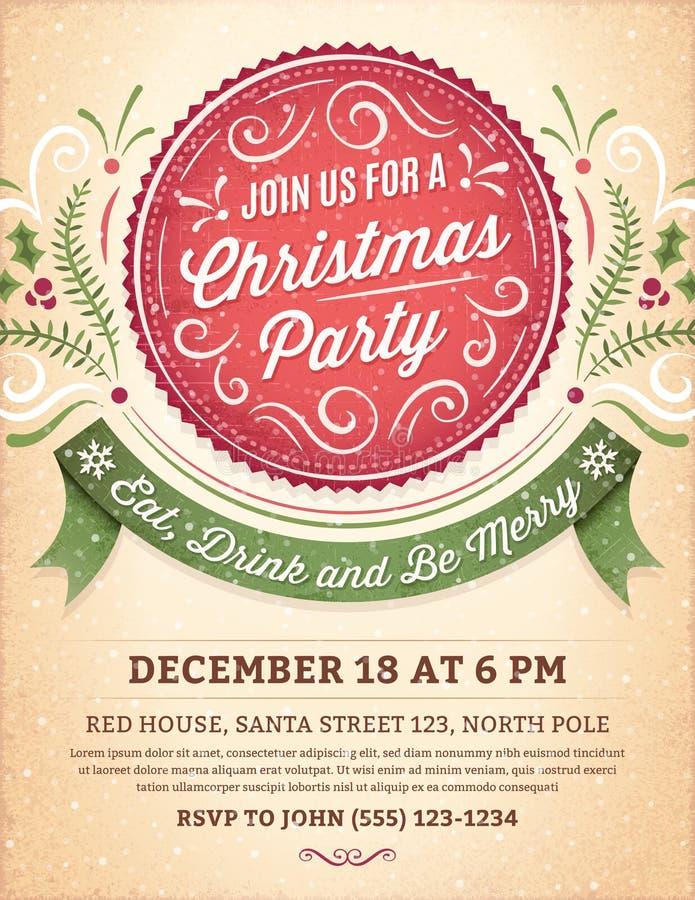 Inbjudan för julparti med en stor röd etikett stock illustrationer